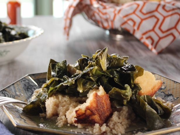 Collards  /Trisha Yearwood   Cook Notes: You can cook and FREEZE these in the summer to eat throughout the year.If the collards are homegrown, soak the leaves briefly in a salt-water brine made by adding 1/2 cup salt to enough water to cover the leaves.