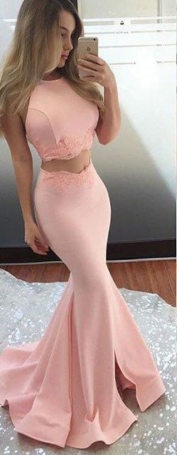 Long Prom Dresses,Satin Prom Gowns,Two Piece Prom Dress,Sleeveless Prom Dress,Fishtail Skirt Party Dress