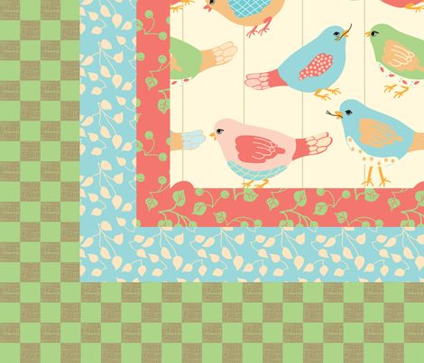Here_Birdie__Birdie_quilt_top fabric by �_lana_gordon_rast_ on Spoonflower - custom fabric