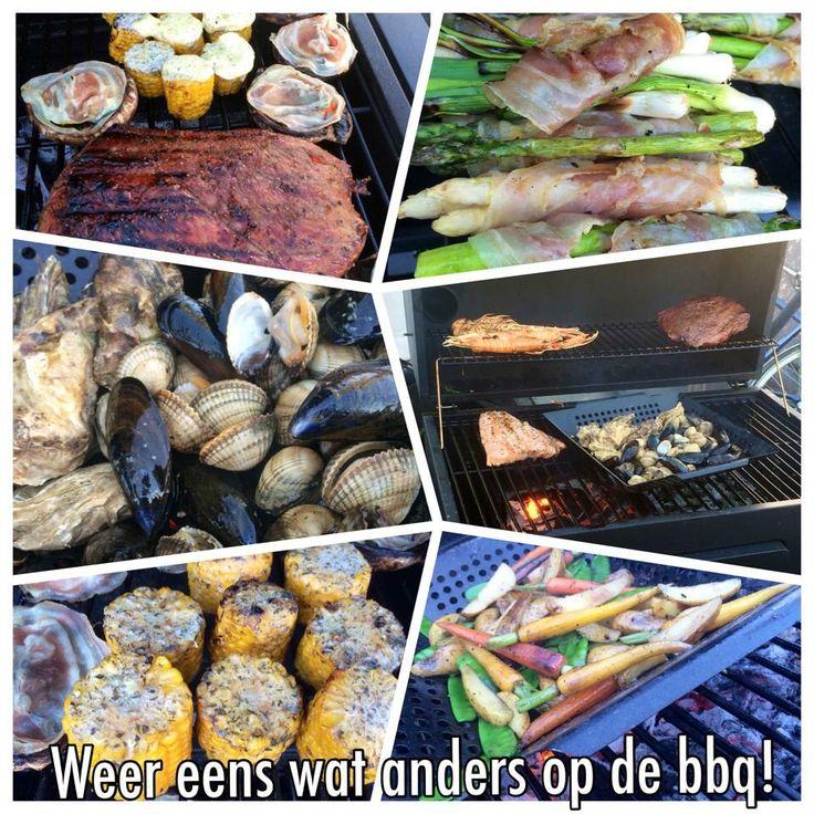 Niet alleen vlees natuurlijk, Mais, Asperges, kokkels schelpen en gevulde Portabello's. Maak je klaar op je Carbone houtskool bbq. #Barbecue #Boretti #Outdoor