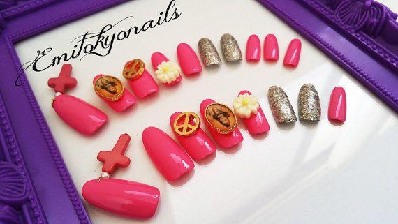 3d Nails20 NailsNail swagStiletto NailsRound by emitokyonails