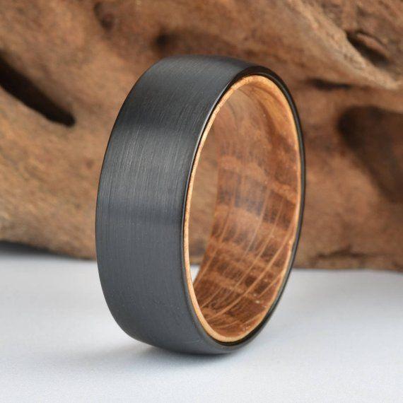 Whisky Barrel Mens Wood Wedding Band Black Tungsten Wood Ring Etsy Mens Wedding Rings Black Black Wedding Rings Mens Wood Wedding Bands