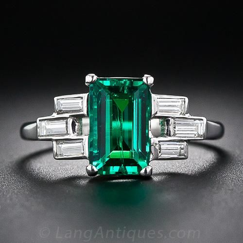 Art Deco Emerald, Diamond & Platinum Ring
