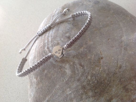 sterling silver skull bracelet friendship by keepcalmandbeadon