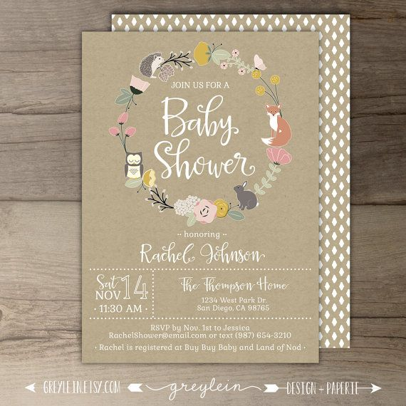 woodland baby shower invitations templates