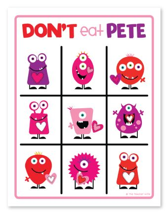 Don't Eat Pete Game, FREE Valentines Version over at The Teacher Wife!