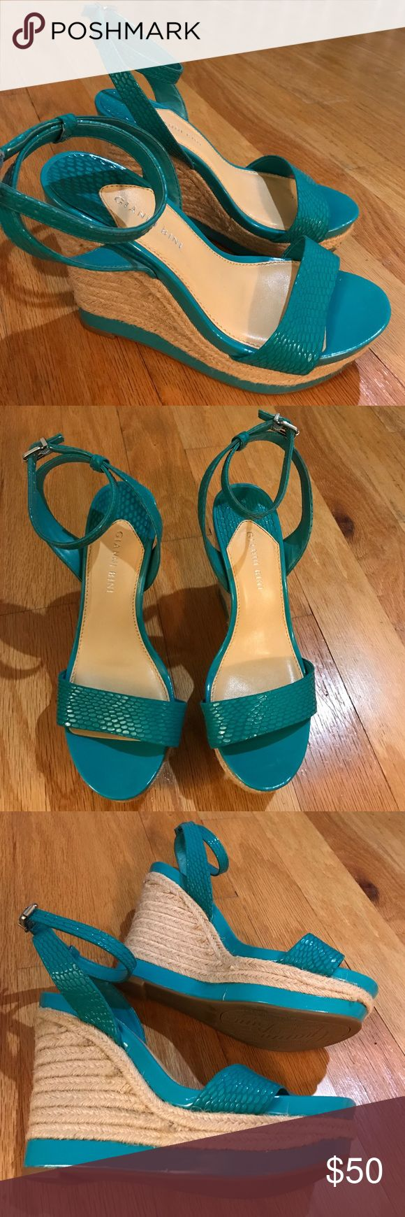 Gianni Bini Teal Wedge Sandals Super cute wedge sandals. Teal color and wrap around the ankle. Only been worn twice and in good condition. Gianni Bini Shoes Wedges