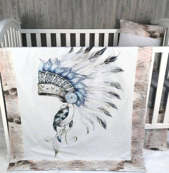Little Chief Patchwork Cot Crib Quilt  Tribal Indian patchwork cot crib quilt