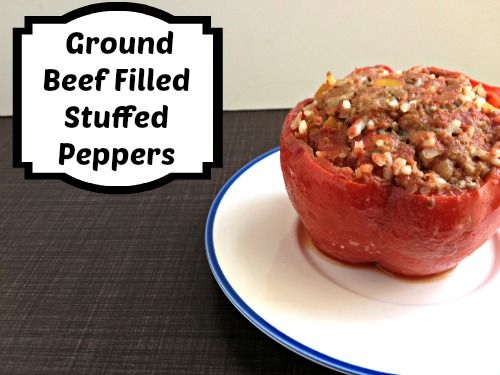 Try this kid friendly stuffed peppers recipe.  It is a great ground beef filled stuffed pepper that has a yummy sauce with it.