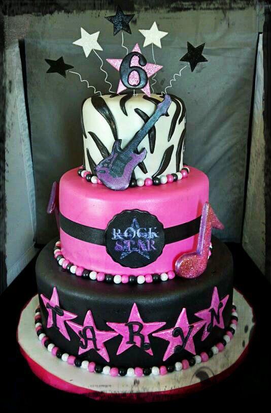 Rock Star Cake - Poured sugar music notes.