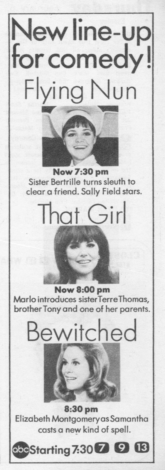 ABC TV Thursday Night Line-Up Ad Featuring: Bewitched, The Flying Nun and That Girl, 1969 - Bewitched and The Flying Nun, were produced by Screen Gems.
