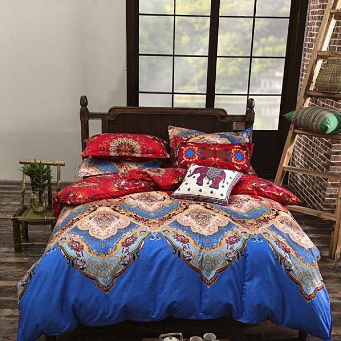 Traditional National Style Duvet Cover Set Bedding Flat Sheet Queen 4Pcs