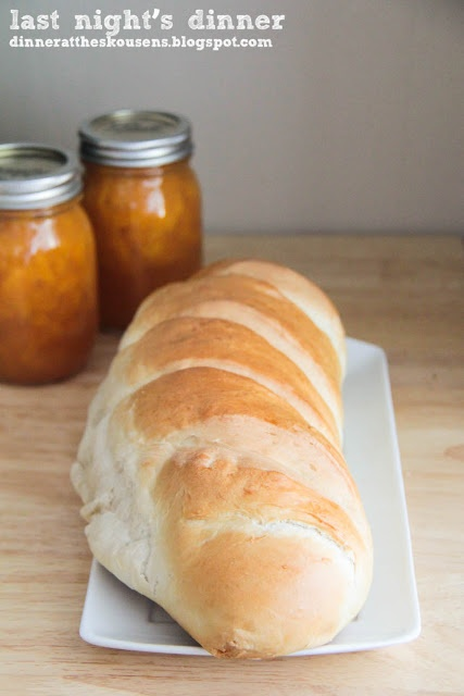 Last night's Dinner:  French Bread.  This is the softest french bread and easy to make!