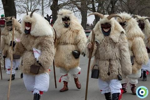"""The Busójárás (meaning """"Busó-walking"""") is an annual celebration of the end of the winter in Mohács, Hungary."""