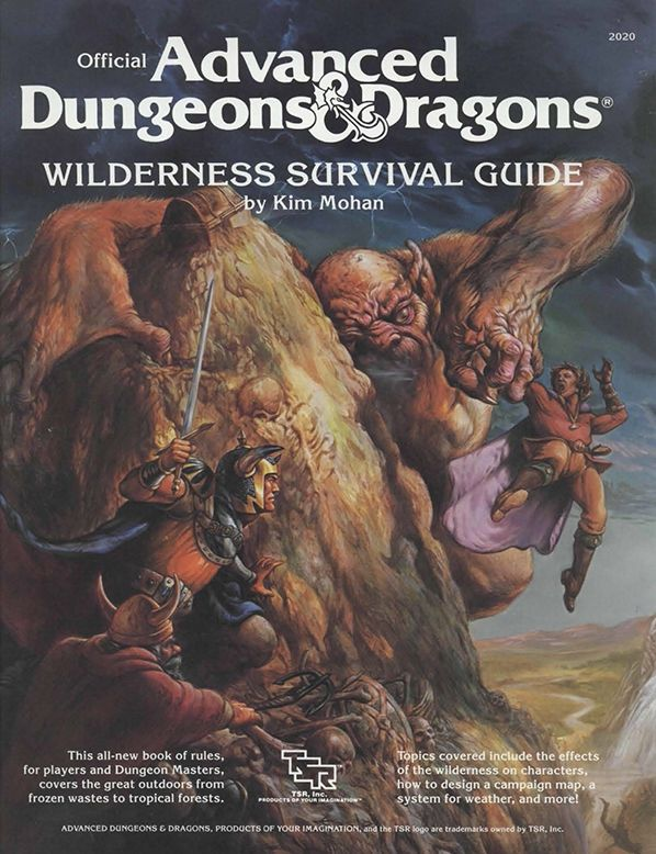 Wilderness Survival Guide (1e) | Book cover and interior art for Advanced Dungeons and Dragons 1.0 - Advanced Dungeons & Dragons, D&D, DND, AD&D, ADND, 1st Edition, 1st Ed., 1.0, 1E, OSRIC, OSR, fantasy, Roleplaying Game, Role Playing Game, RPG, Wizards of the Coast, WotC, TSR Inc. | Create your own roleplaying game books w/ RPG Bard: www.rpgbard.com | Not Trusty Sword art: click artwork for source