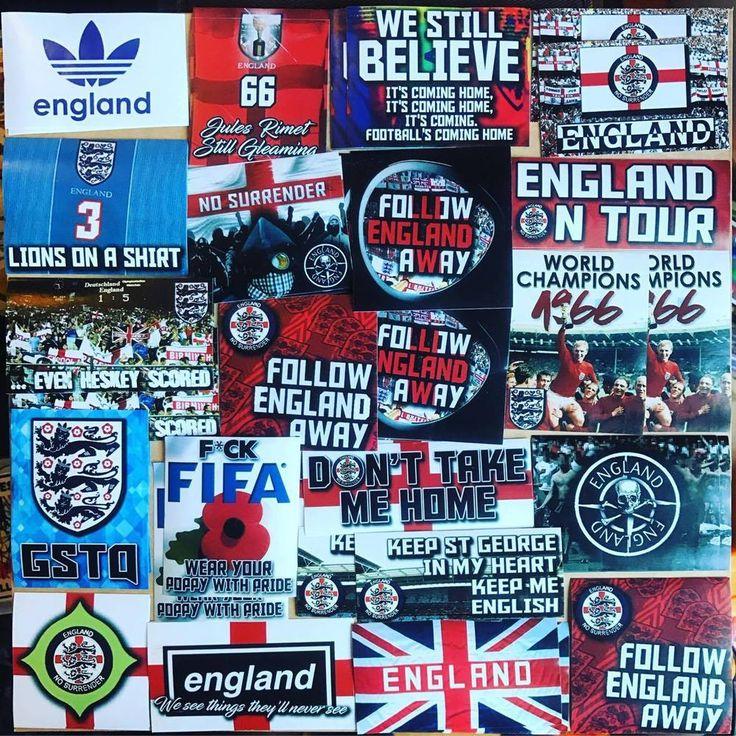 100 x England Football Stickers Based on Scarf Shirt Wembley Ticket Euro 2018   | eBay