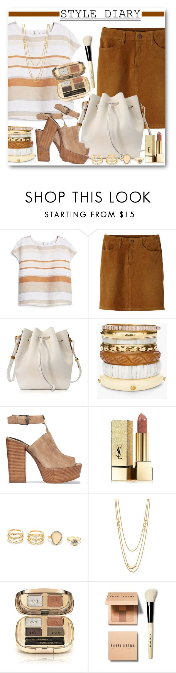 """""""Corduroy Skirt and Striped Linen Top"""" by brendariley-1 ❤ liked on Polyvore featuring MANGO, prAna, Sophie Hulme, Chico's, Rebecca Minkoff, Yves Saint Laurent, LULUS, Gorjana, Dolce&Gabbana and Bobbi Brown Cosmetics"""