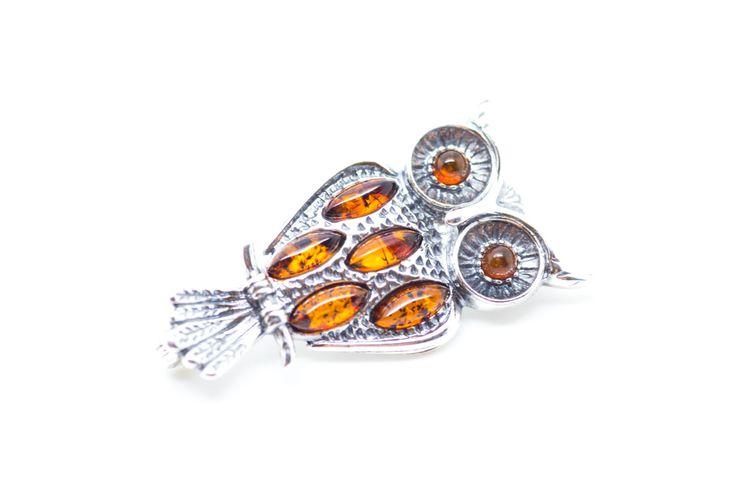 Owl Brooch, Owl Jewellery, Amber & Silver Owl Brooch, Amber Brooch, Silver Brooch, Brooch Gift, Animal Brooch, Baltic Amber Brooch, Amber by BalticBeauty925 on Etsy
