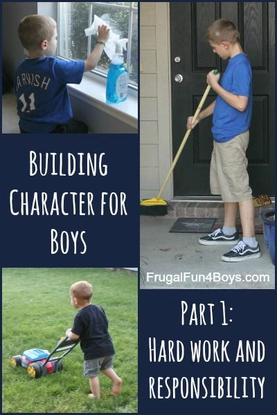Building Character for Boys - Work and Responsibility. The post has a free printable Bible study that kids can do, or families can do together - AWESOME!