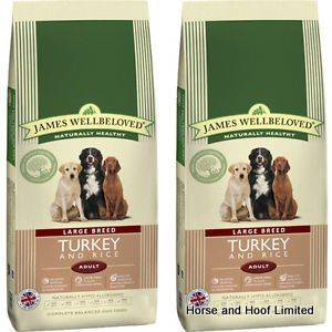 James Wellbeloved Turkey Rice Large Breed Dog Food 15kg James Wellbeloved Turkey Rice Large Breed Dog Food is a wholesome complete dried dog food for adult dogs.