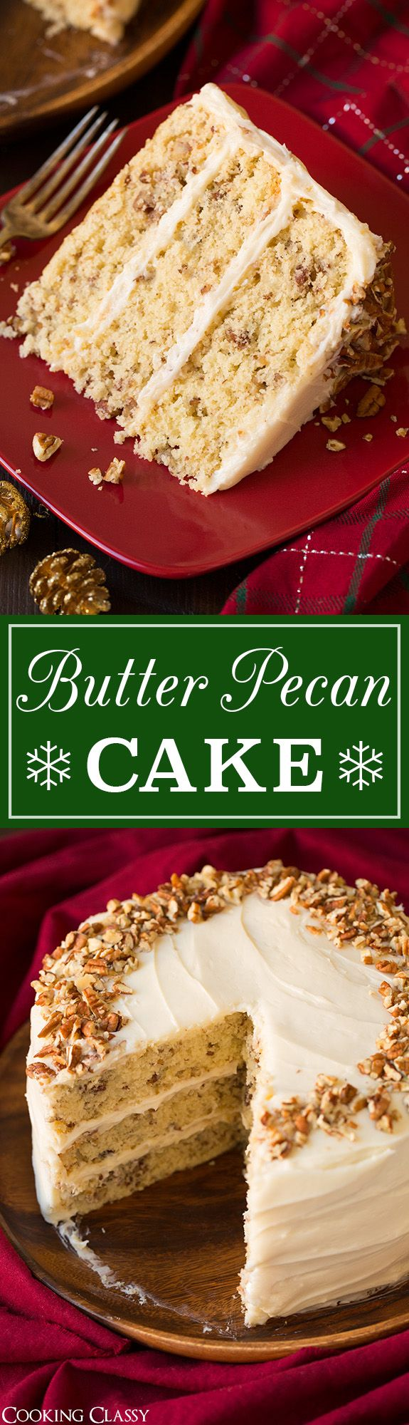 Butter Pecan Cake - we LOVED this cake!! Soft and moist and the cream cheese frosting is to die for! Perfect for Christmas!