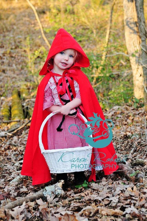 Little Red Riding Hood Dress and Cape by kikisthings on Etsy, $45.00