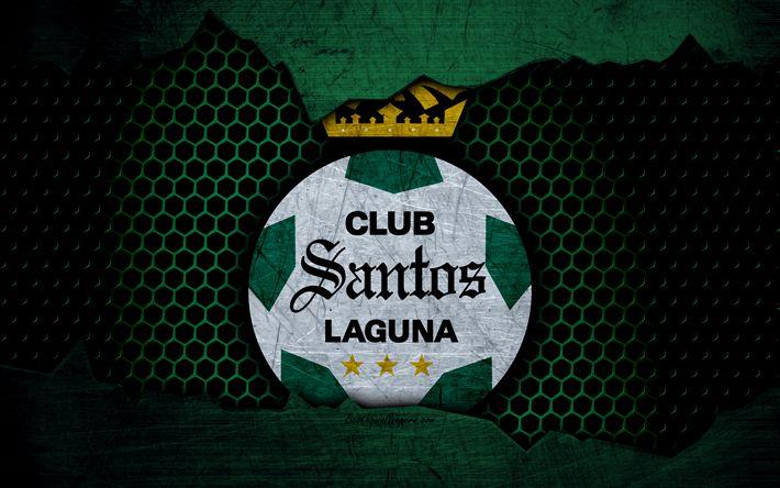 Download wallpapers FC Santos Laguna, 4k, green background, Liga MX, soccer, Primera Division, football club, Santos Laguna, Mexico, grunge, metal texture, Santos Laguna FC