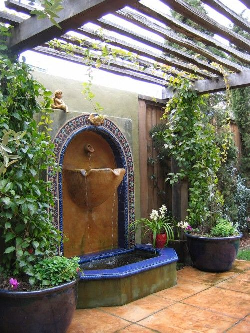 This is a devine setting and design.: Patio Design, Wall Fountain, Backyard Design, Water Features, Outdoor, Gardens, Mediterranean Patio, Patio Ideas, Courtyards