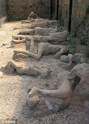 Pompeii - casts of people as they died during the eruption of Mount Vesuvius in 79 AD