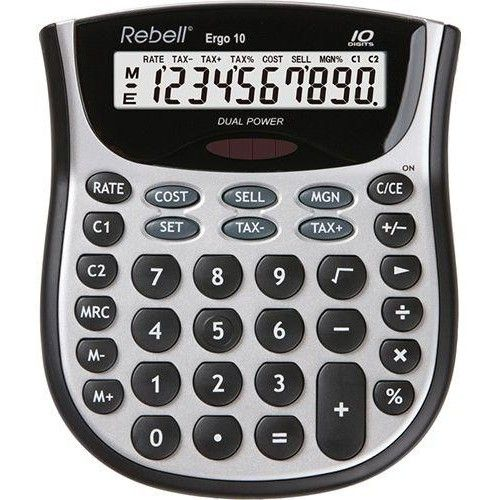 Rebell Ergo 10 számjegyes asztali számológép - Ezüst-Fekete - Számológépek Ft Ár 2,390
