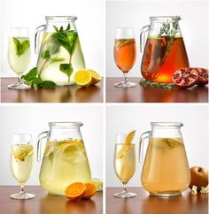 DIY Fruit & Spice Infused Spa Water Recipes- Tangerine Fennel Thyme: aids digestion, reduces inflammation and boosts metabolism; Ginger Pear: good for the immune system, is packed with anti-inflammatory properties; Pomegranate Apple Rosemary: stimulates the immune system and brain function; Meyer Lemon Mint: vitamin C, antioxidants and photochemicals that soothe the digestive tract.