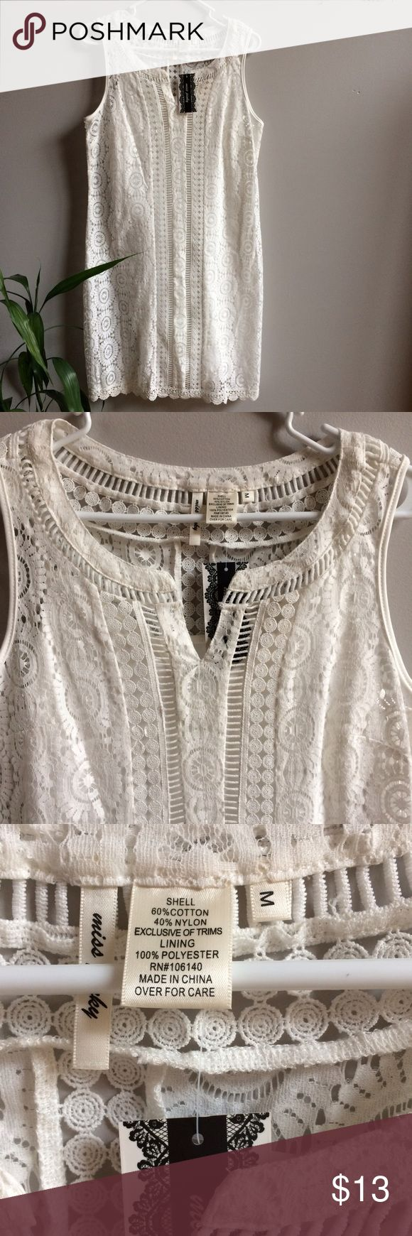 "🎁NWT White Lace Lined Dress Lining is a separate piece from the main lace part of the dress. Women's sizing. Retail $49.99. Measures 38"" shoulder to hem. Will not be priced lower. No offers please. Dresses"