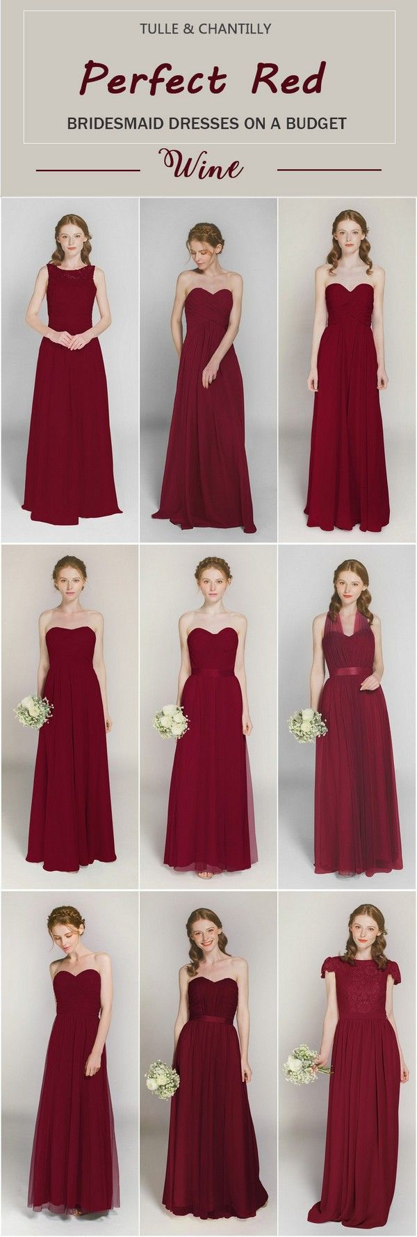 affordable long wine  bridesmaid dresses