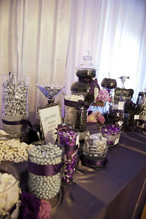 Deep purple wedding candy buffet