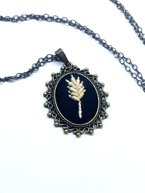 Wheat Wedding Necklace Bridesmaid Necklace by RedWorkStitches