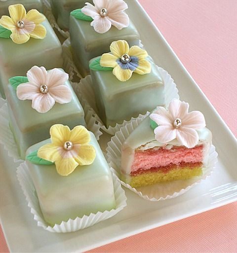 """Spring Blossom Petit Four Squares. I don't like the silver balls, I'd use a bit of royal icing, fondant, or modeling chocolate but if you like the """"bling"""" we can do that."""