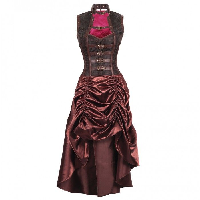 Brown Steampunk Corset Dress with Gathered Skirt, Bolero and Faux Leather Trims   DRESSES   APPAREL