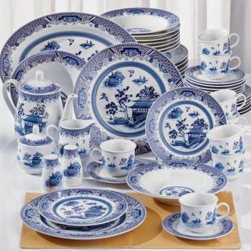 New 38p White Blue Chinese Garden Asian Dinnerware Dishware Set Service For  8