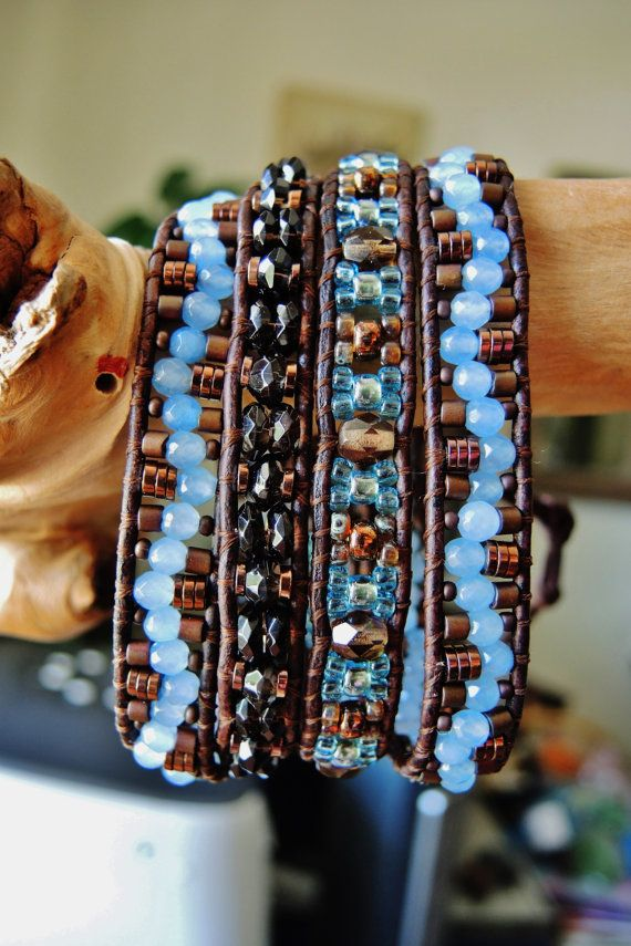 AQUA WAVE 4 Wrap Leather Bracelet by BraceletsofBlueRidge on Etsy, $94.00