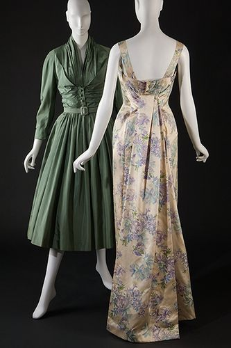 Christian Dior    Christian Dior, afternoon dress, sea green silk taffeta, circa 1952, France, gift of Mrs. Helen Ziegler.    Christian Dior, evening dress, printed ivory silk satin, spring/summer 1956, France, gift of Mrs. Michael Blankfort.    Photography ©MFIT, 2009