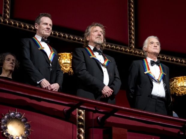 """Led Zeppelin keyboardist/bassist John Paul Jones, singer Robert Plant & guitarist Jimmy Page, stand during the Kennedy Center Honors when Heart performed """"STAIRWAY TO HEAVEN"""" in their honor. It made Robert Plant cry tears of joy. AWESOME performance. Watch > http://www.youtube.com/watch?v=JK_DOJa99oo"""