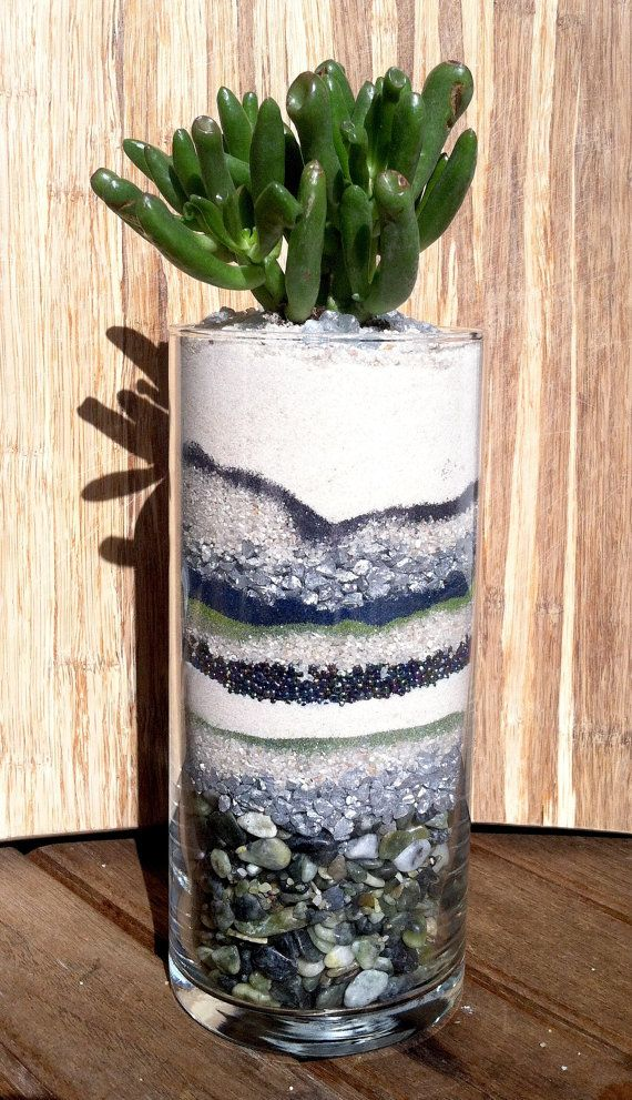 These succulent planters contain different colors and textures of sand and other potting material layered with various beads and glitter.  Navajo Planter contains:  Rocks, Beads, Glitter, Sand.