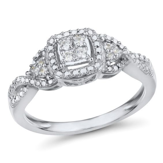 1 10 Ct T W Quad Diamond With Tri Sides Frame Promise Ring In 10k White Gold White Gold Fashion Rings Promise Rings
