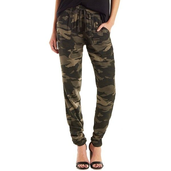 Charlotte Russe Ruched Ankle Jogger Pants ($27) ❤ liked on Polyvore featuring pants, capris, green combo, cropped pants, camouflage capris, brown capris, camo capris and brown pants