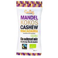 5/5 Mandel/Cashew/Kokos/Macadamia Eko, 50 g: helt jäkla galet god salt blandning, speciellt kokosen överaskar med sin feta nötiga sälta.