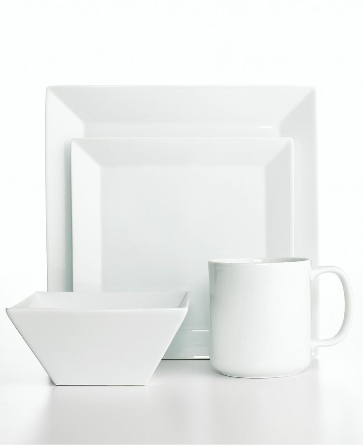 The Cellar Dinnerware Whiteware Square 4 Piece Place Setting - Casual Dinnerware - Dining \u0026 Entertaining - Macys Bridal. Love this modern plate set.  sc 1 st  Pinterest & 50+ best DINNER SETS images by Shorty Rivera on Pinterest | Dining ...