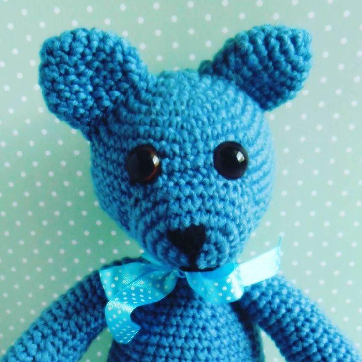 Mały #miś #crochet #bear #teddybear #blue #ribbon #wool #merinowool #merino #GawraStefana