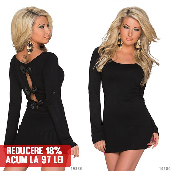 Rochie Emi Black >> Click pe poza pentru a intra pe site. Rochie din tricotaj fin, scurta, un model cambrat pe talie.   #rochii #rochiideseara #fashion #dress #rochiideocazie #NFR #NewFashionRomania #declub  #VinereaNeagra #BlackFriday #Reduceri #fashion #BlackFridayFashion #ReduceriBlackFriday