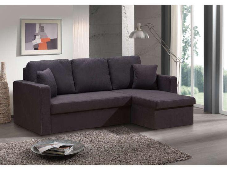 Canapé d'angle convertible et réversible 4 places HUGO coloris noir