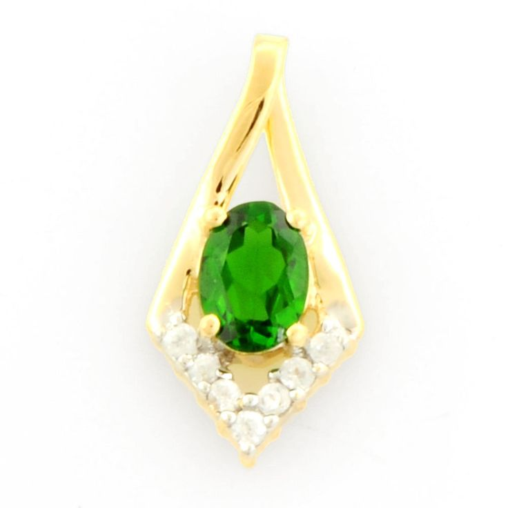 CHROME DIOPSIDE & NATURAL ZIRCON NATURAL GEMSTONE PENDANT IN 9KT YELLOW GOLD